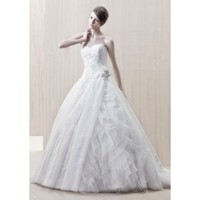 Tulle Strapless Sweetheart Neckline with Lavish Ruffle Underskirt and Rouched Bodice A-Line Wedding Dress - Basadress.com