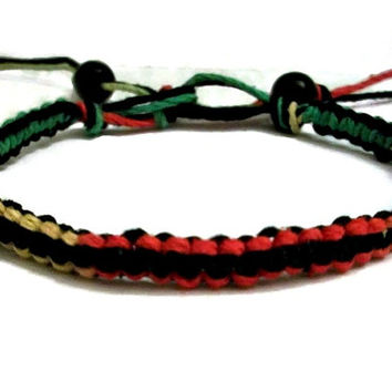 Reversible Rasta Square Knot Hemp Bracelet With Beaded Ends