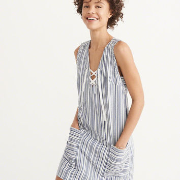 Womens Lace-Up Shift Dress | Womens Dresses & Rompers | Abercrombie.com