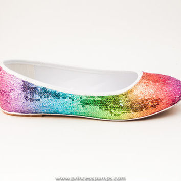 Sequin Rainbow Ballet Flats Slippers Shoes by Princess Pumps