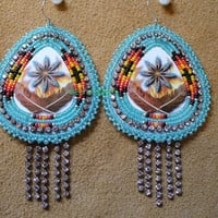 Native American Style Rosette  Fire and Feathers earrings