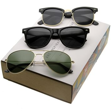 Iconic Classic Retro Polarized Lens Sunglasses C040 [Promo Box]