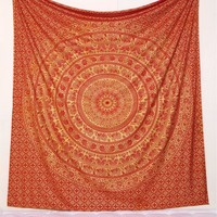 Gold on Brick Red Boho Fabric Tapestry