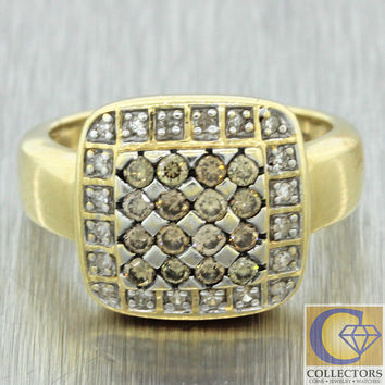 Vintage Estate 14k Solid Yellow Gold .52ctw Champagne Diamond Cluster Ring