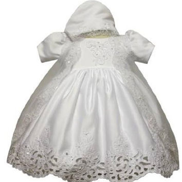 Baby Girl Christening Dress Gowns Outfit Bonnet Size /Small/medium/large/xl/2t/#5423