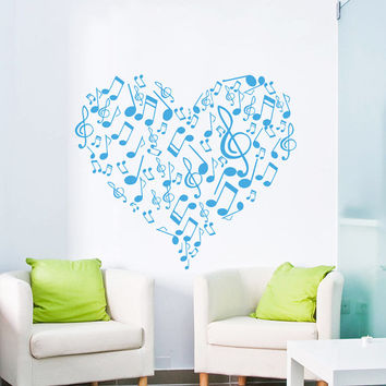Wall Decal Vinyl Sticker Decals Art Home Decor Design Mural Heart Musical Notes Music Studio Treble Clef Bedroom Bathroom Dorm AN26