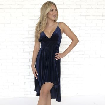 Vivid Dreams Velvet Blue Dress