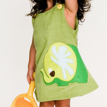 Green A-line Dress with Elephant Applique