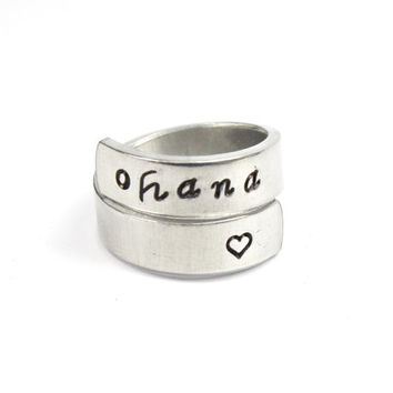 Ohana Wrap Ring, Ohana Family, Hawaiian Word Ring, Lilo and Stitch Inspired Twist Aluminum Ring, Family Love Heart Ring