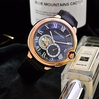 PEAP C041 Cartier Simple Business Leisure Automatic Machinery Leather Watchand Watches Black Rose Gold Blue