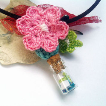 Necklace, Message in a bottle, Teen necklace gift, Small bottle