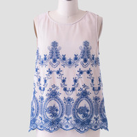 Empress Embroidered Blouse In Blue