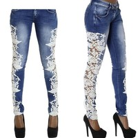 womens hollow Lace jeans fashion torn frayed ripped zipper fly biker pants denim plus size