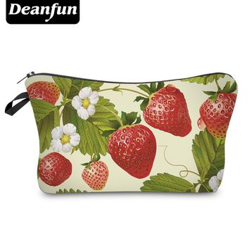 Deanfun Strawberry Zipper Storage Makeup Organizer Required Travel Women Polyster  New Fashion 3D Printed Cosmetic Bag 50776