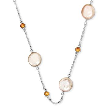Sterling Silver 18 Inch Champagne CZ/ Peach Fresh Water Cultured Coin Pearl Necklace