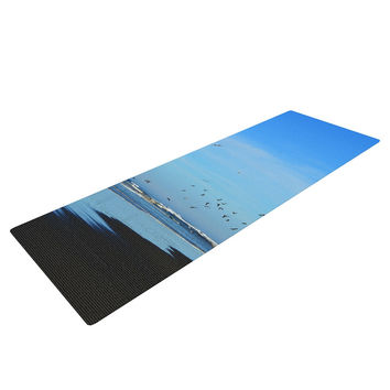 "Robin Dickinson ""Beach Hair"" Blue Coastal Yoga Mat"