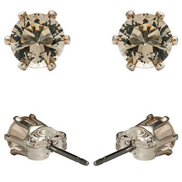 Pewter Crystal Silver Plated Stud Earrings