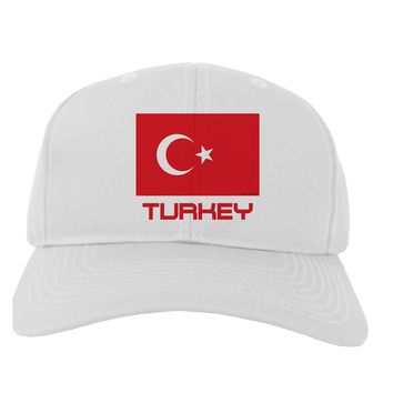 Turkey Flag with Text Adult Baseball Cap Hat by TooLoud