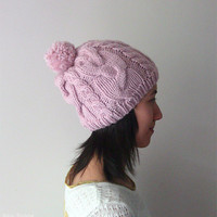 Hand Knitted Cable Slouch Chunky Hat in Light Pink - Seamless Hat - Wool Blend - Winter Hat