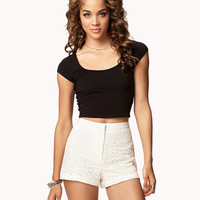 Hyperfemme High-Waisted Eyelet Shorts