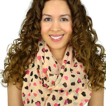 Hearts Infinity Scarf Hot Pink Loop Scarf Black Hearts infinity scarves hearts scarves Hot Pink scarves infinity Black heart scarf kawaii