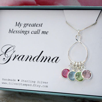 Grandma necklace gift for grandmother sterling silver Swarovski birthstone infinity necklace Christmas gift for grandma from Grandkids