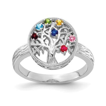 Personalized Family Tree Birthstone Ring