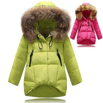 Fashion Girl down Jackets Coats warm baby girl thick duck Down Kids jacket Children Outerwear's