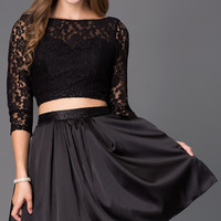 Short Black Two Piece Dress with Lace Bodice