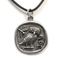Athena Minerva Owl Coin Shaped Pendent Necklace Unisex 1L
