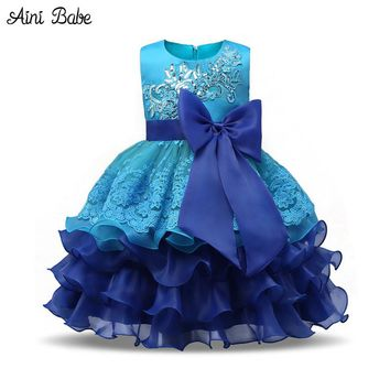 Babe Lace Princess Wedding Gown Junior Child Dresses Kids Celebration Prom Gown Designs Dresses For Girls Clothes