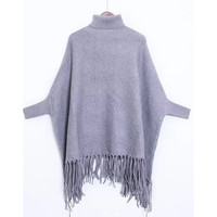 Grey Turtleneck Batwing Sleeve Fringe Cape Sweater