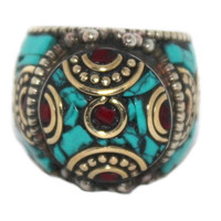 Turquoise Ring Silver Ring Coral Ring Boho ring RB102