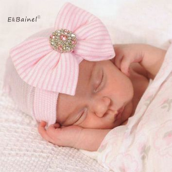 E&Bainel Crochet Baby Spring Hat Bow Newborn Beanie Baby Girls Cotton Knit Beanie Infant Striped Caps Toddler Hat