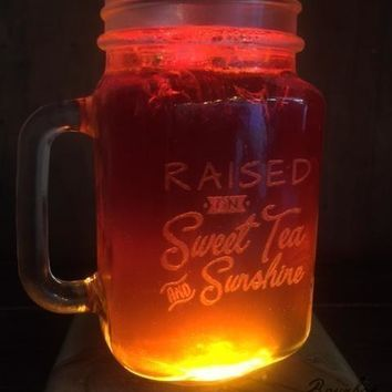 Etched Sweet Tea Mason Jar Drinking Glass Set