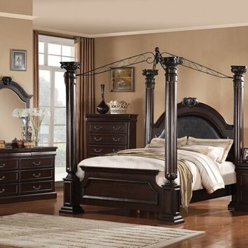 5 pc Roman Empire II Collection Dark cherry finish wood queen 4 poster bedroom set with metal canopy and panel footboard