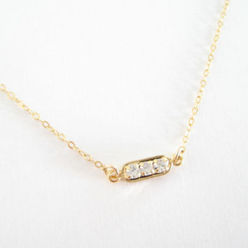 small gold bar necklace, cubic zirconia bar necklace, gift for her, bridesmaids gifts, layering necklace, gold filled or sterling silver