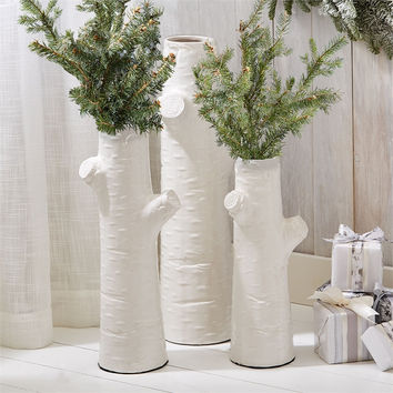 White Tree Trunk Vases - Set of 3