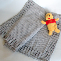 Baby Blanket Crochet Knitting Gray Soft Baby Blanket