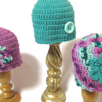 Spring Baby Hat, Twins or Triplets Crochet Baby Caps, MADE TO ORDER by Charlene, Photo Prop, Twins or Triplets, Easter Hat