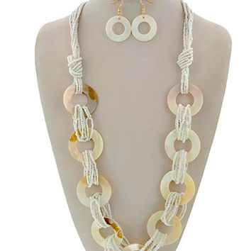 Gold & White Seed Bead Mother of Pearl Long Necklace and Earring Set