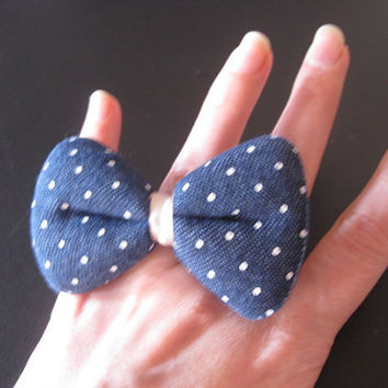 Chubby Denim Polka Dot  Ring