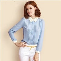 Blue Pleat Long-Sleeve Collared Chiffon Blouse