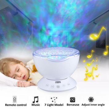 TIKITAKA Remote Control Ocean Wave Projector  7 Colors Night Light Lamp With Mini Music Player For Living Room Bedroom Lighting