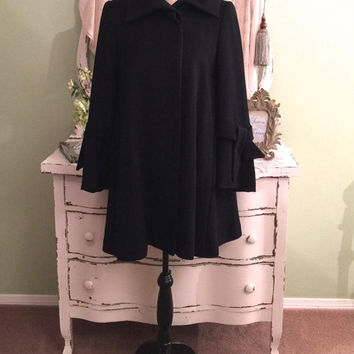 Black Minimalist Coat, Wool/Cashmere Coat, Soft Winter Coat, S/SM, Elegant Swing Coat w/ Large Back Pleat & Pretty Sleeves, Warm Winter Coat