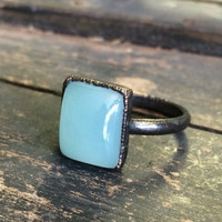 Crystal Ring / Blue Chalcedony Ring / Blue Stone Ring / Crystal Jewelry / Gypsy Jewelry / Gemstone Ring / Electroformed Ring / 6,7
