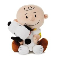 Hallmark Peanuts Charlie Brown and Snoopy Hugging Stuffed Animal, 8.75""