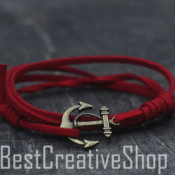 SALE! Anchor Bracelet / Red Bracelet / Sea Nautical Suede Bracelet / Marine Bracelet / Mens Bracelet / Women Nautical Bracelet Men Bracelet