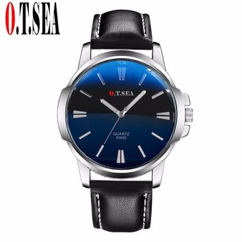 Faux Leather Blue Ray Sports Quartz Wrist Watch