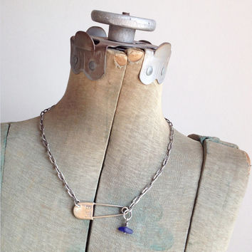 Vintage Laundry Safety Pin Blue Seaglass Sterling Silver Necklace 119